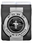 1966 Ford Mustang Shelby Gt 350 Emblem Gas Cap -0295bw Duvet Cover