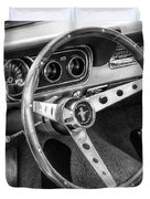 1966 Mustang Dashboard Bw Duvet Cover