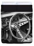 1966 Mustang Dashboard Bw Duvet Cover