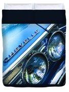 1967 Chevrolet Chevelle Malibu Head Light Emblem Duvet Cover