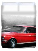 1968 Ford Mustang Watercolor Duvet Cover