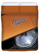 1969 Chevrolet Camaro Headlight Emblem Duvet Cover