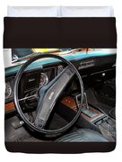 1969 Chevrolet Camaro Rs - Orange - Interior - 7601 Duvet Cover