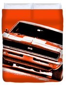 1969 Chevy Camaro Ss - Orange Duvet Cover
