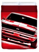 1969 Chevy Camaro Ss - Red Duvet Cover