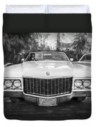 1970 Cadillac Coupe Deville Convertible Painted Bw Duvet Cover