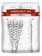 1970 Lacrosse Stick Patent Drawing - Retro Red Duvet Cover