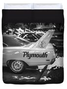 1970 Plymouth Road Runner Hemi Super Bird Bw Duvet Cover