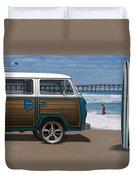 1970 Vw Bus Woody Duvet Cover