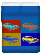 1971 Chevrolet Chevelle Ss Pop Art Duvet Cover