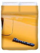 1971 Plymouth Barracuda Convertible Hood Emblem Duvet Cover