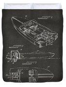 1972 Chris Craft Boat Patent Artwork - Gray Duvet Cover