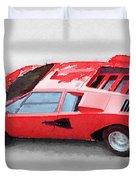 1974 Lamborghini Countach Watercolor Duvet Cover
