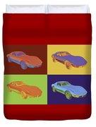 1975 Corvette Stingray Sportscar Pop Art Duvet Cover