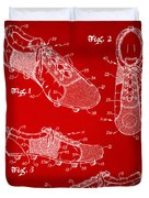 1980 Soccer Shoes Patent Artwork - Red Duvet Cover