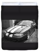 1996 Mustang Cobra In Black And White Duvet Cover