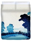 19th C. Japanese Father And Son Crossing Bridge Duvet Cover
