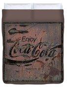 Coca Cola Sign Grungy Retro Style Duvet Cover