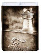 1911 Ford Model T Torpedo 4 Cylinder 25 Hp Hood Ornament - Emblem Duvet Cover by Jill Reger