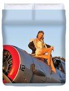 1940s Style Aviator Pin-up Girl Posing Duvet Cover
