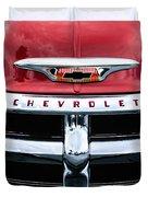 1955 Chevrolet 3100 Pickup Truck Grille Emblem Duvet Cover