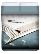 1956 Ford Crown Victoria Glass Top Emblem Duvet Cover