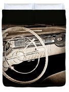 1956 Oldsmobile Starfire 98 Steering Wheel And Dashboard Duvet Cover