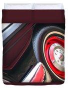 1957 Ford Fairlane Convertible Wheel Emblem Duvet Cover