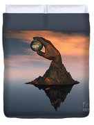 A 3d Conceptual Image Of The World Duvet Cover