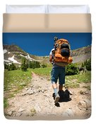 A Backpacker Hiking Duvet Cover