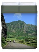 A Group Of Atv Quad Riders Take Duvet Cover