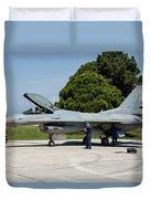A Hellenic Air Force F-16c Block 52+ Duvet Cover