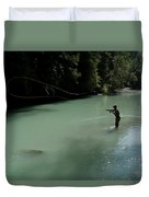 A Man Casts In A River Wearing Waders Duvet Cover
