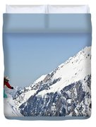 A Man Skis Untracked Powder Off-piste Duvet Cover