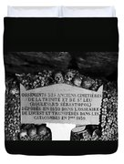 A Marker With Skulls And Bones In The Catacombs Of Paris France Duvet Cover