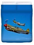 A P-40e Warhawk And A P-51d Mustang Duvet Cover