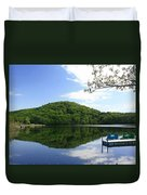 A Reflective View Of Round Pond At The United States Military Academy Duvet Cover