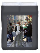 A View Of Some People Enjoying The 2009 New York St. Patrick Day Duvet Cover
