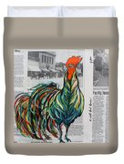 A Well Read Rooster Duvet Cover