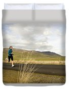 A Woman Out For A Jog In The Country Duvet Cover