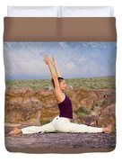 A Woman Practicing Yoga On A Dry Lake Duvet Cover