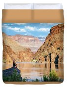 A Woman Sits By The Colorado River Duvet Cover