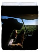 A Woman Sits In Her Safari Jeep Duvet Cover