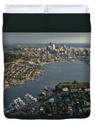 Aerial View Of Seattle Duvet Cover