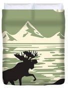 Alaska Denali National Park Poster Duvet Cover