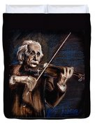 Albert Einstein And Violin Duvet Cover