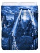 Alien Planet In Blue Duvet Cover by Mike McGlothlen