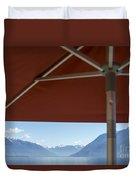 Alpine Lake With Parasol Duvet Cover
