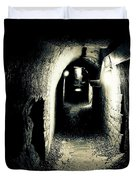 Altered Image Of A Tunnel In The Catacombs Of Paris France Duvet Cover