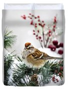 Christmas Sparrow Duvet Cover